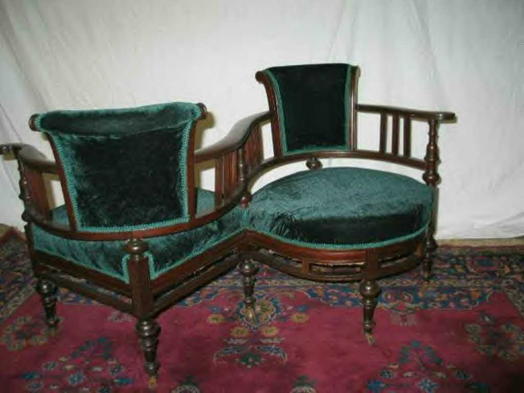 Early Victorian Courting chair  sold $650.00
